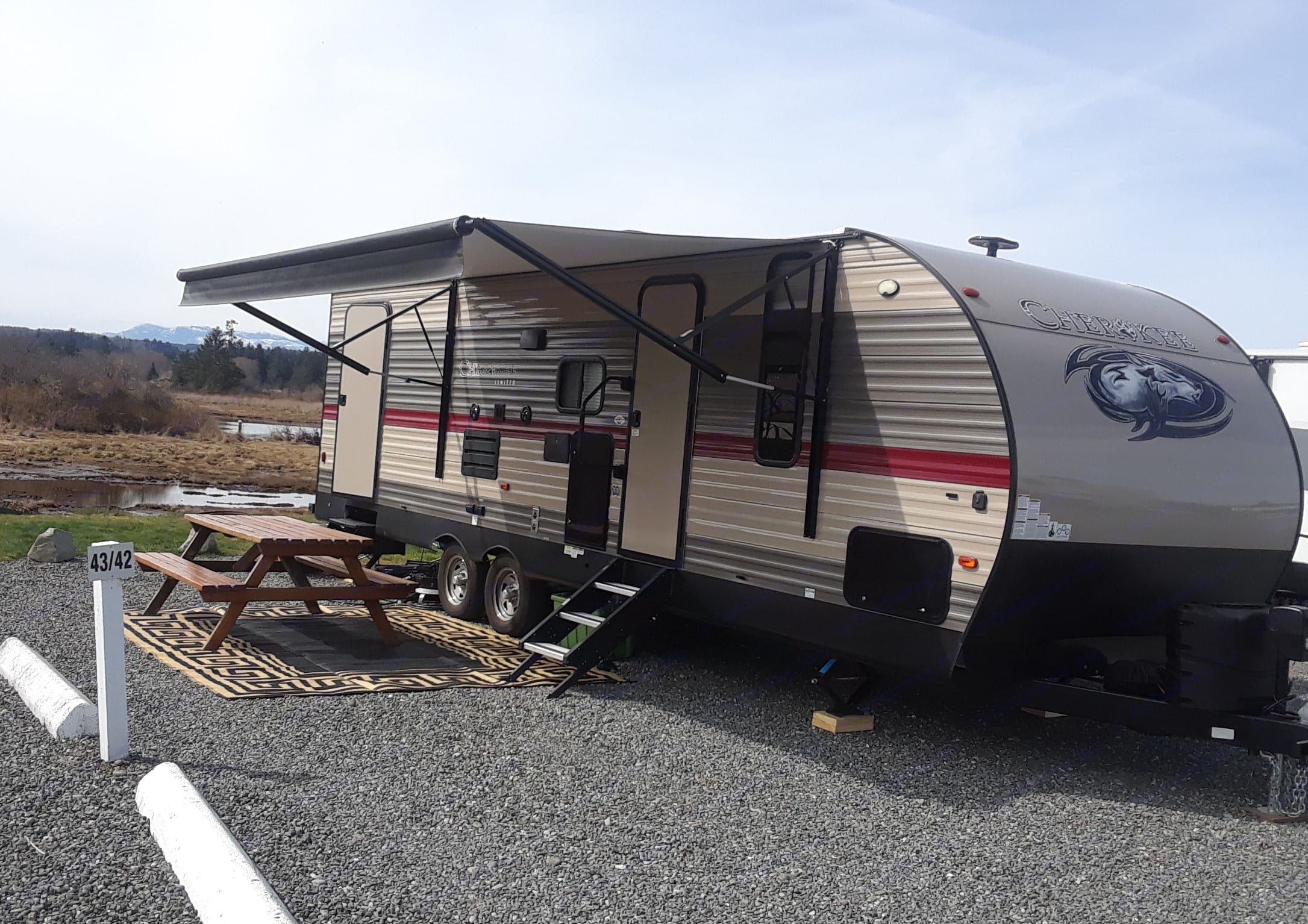 Large outdoor area under awning. Forest River Cherokee 2019