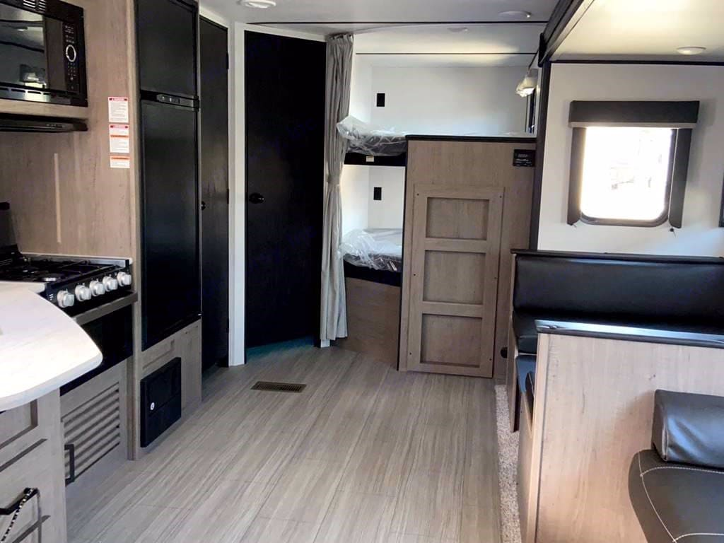 The full view of the interior layout (with exception to the main sleeping area). Keystone Hideout 2021