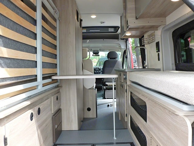 View from the back with Murphy bed up. Room for your bikes!. Winnebago SOLIS 2021