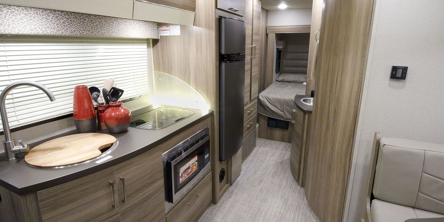 Private bedroom with walk around queen size mattress.. Jayco Melbourne 2018