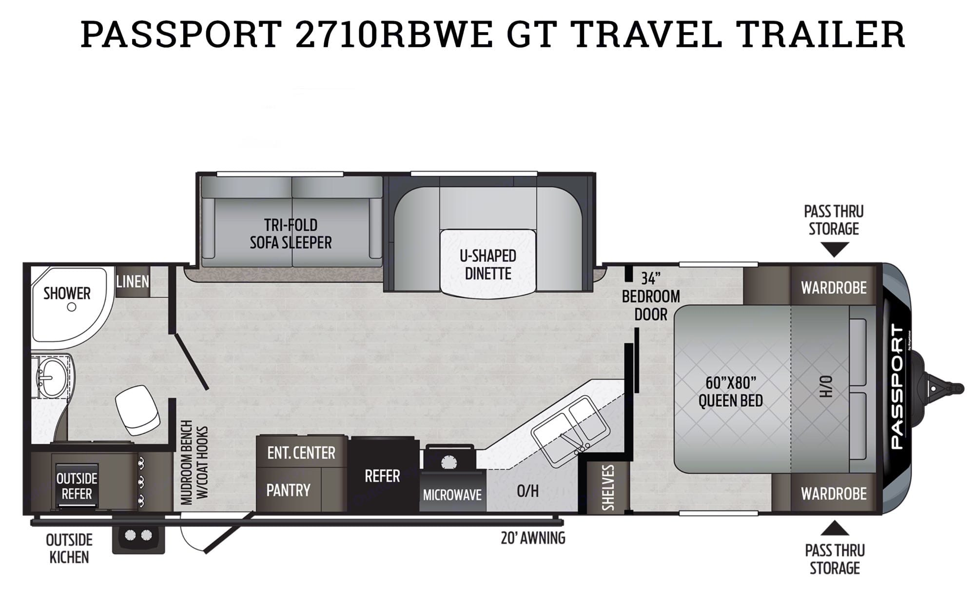 Take a 360º tour of the interior at  https://my.matterport.com/show/?m=bNcS2nfvpZ3. Keystone Passport, 2710RBWE GT Series 2020