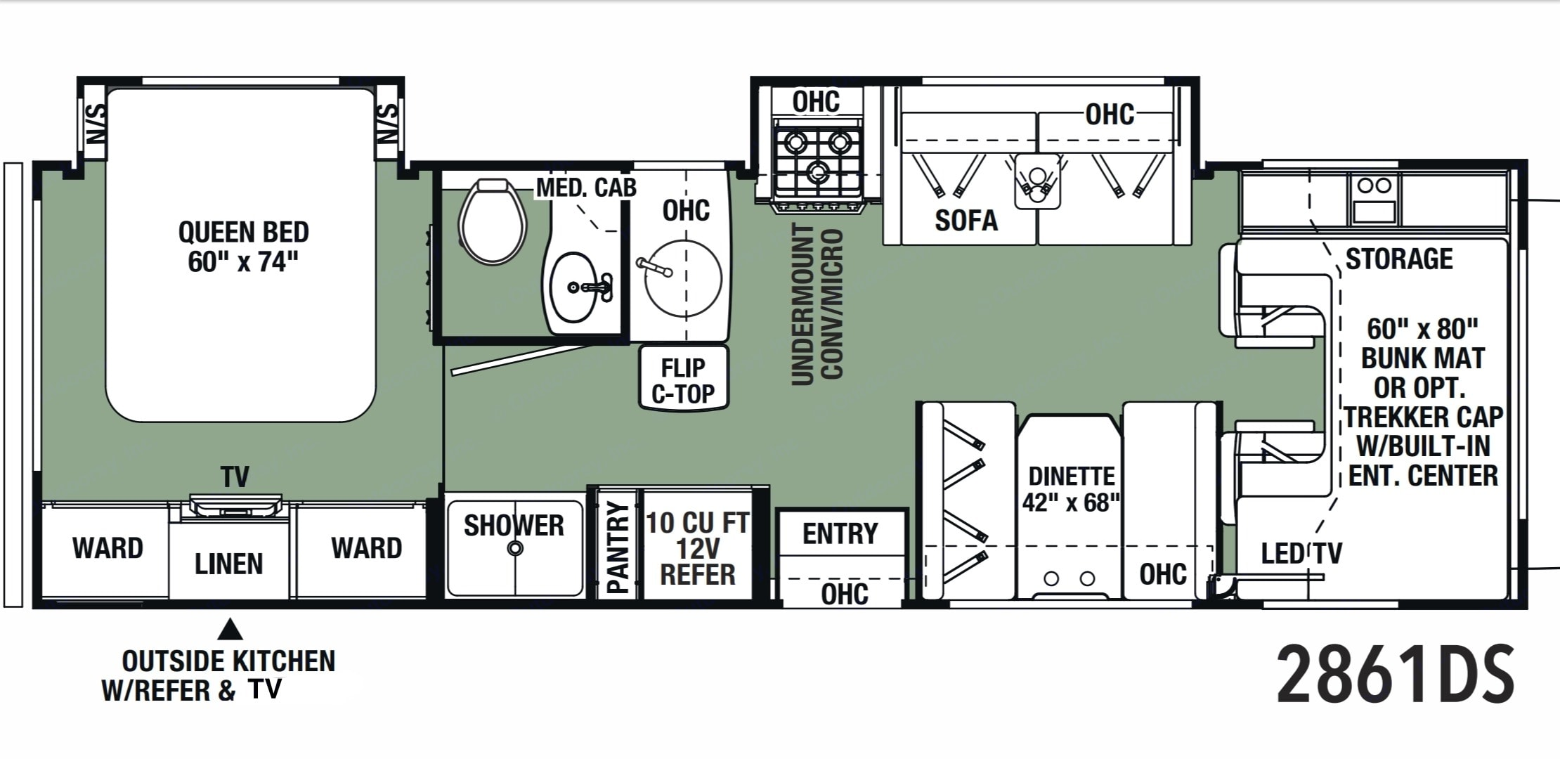 Well designed floor plan provides a private back bedroom, separate toilet and shower, ample living space, and a queen bunk above the cab. Forest River Forester 2020