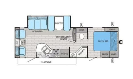 Great floorplan which a centrally located bathroom for increased privacy from the children or other guests. Jayco White Hawk 2016