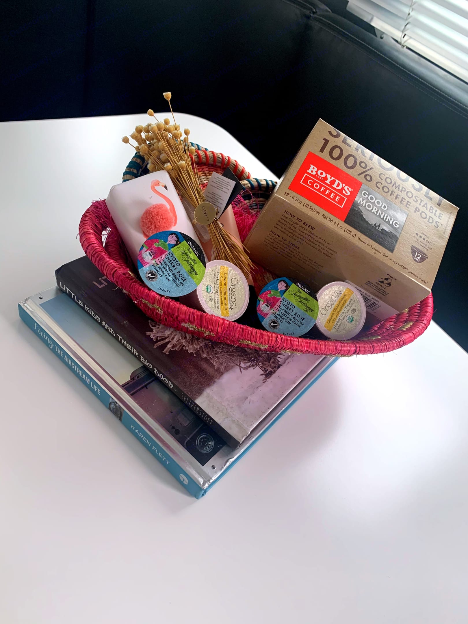 A special goodie basket for each stay filled with Boyd's coffee, specialty teas, Anthropologie soap, & a few additional treats!. Airstream Sport 2019