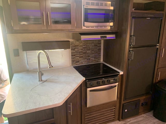 Inside kitchen area. Forest River Cherokee Grey Wolf 2018