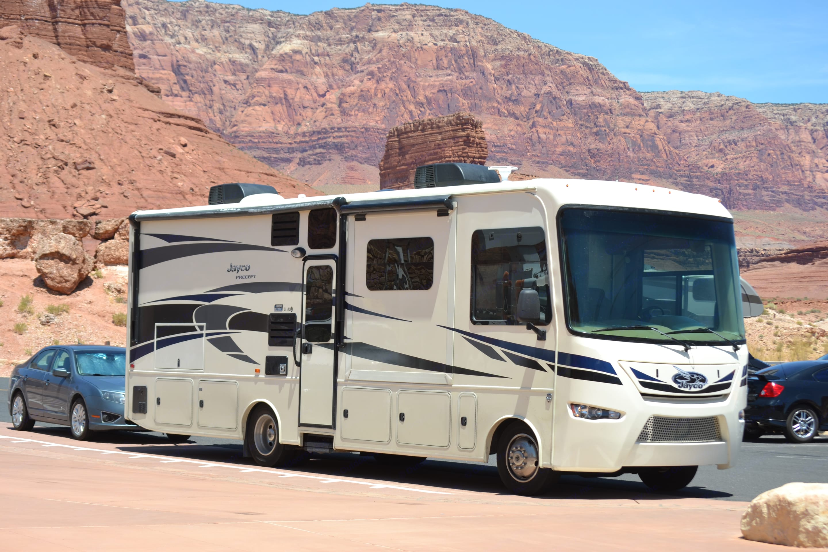 """""""Ed"""" on an Edventure out West, towing a car. Jayco Precept 2016"""