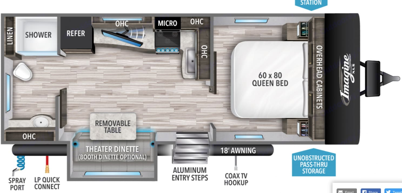 Manufacturer Floorplan. Grand Design 22RBE 2021