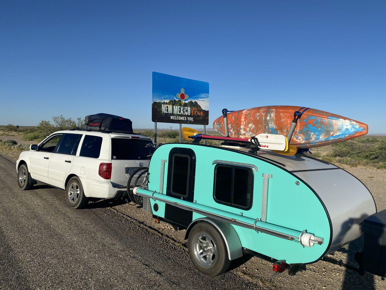 On the road. Driver Side. Custom Teardrop Camper 2019