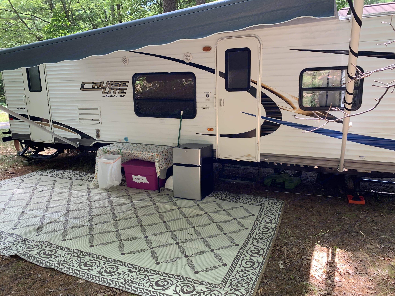 Actual Camper set up with (optional) additional fridge/freezer. Forest River Salem Cruise Lite 2012