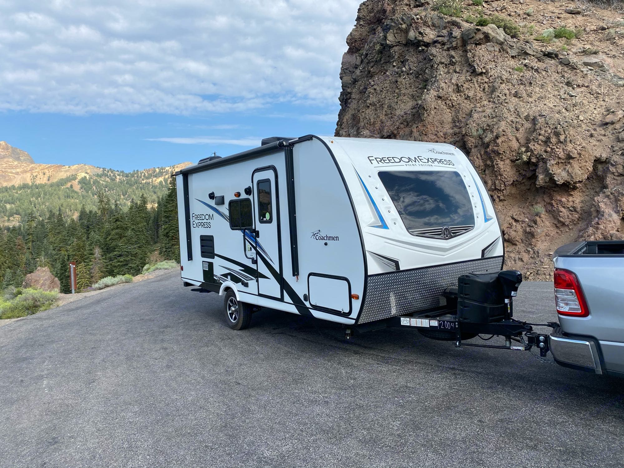 front windshield and door side. Coachmen FreedomExpress 2020