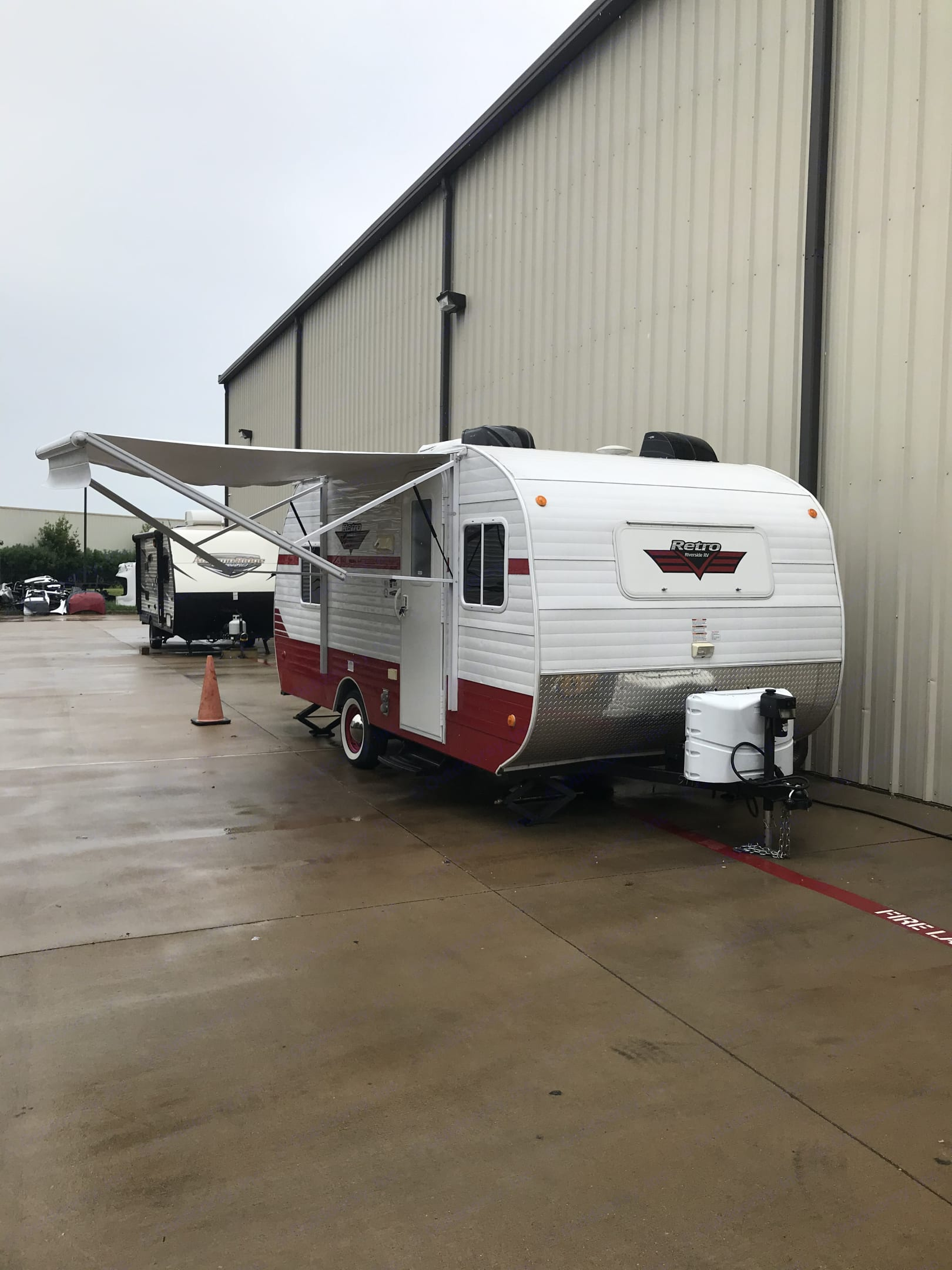 Exterior with Awning out. Riverside Rv Retro 2018