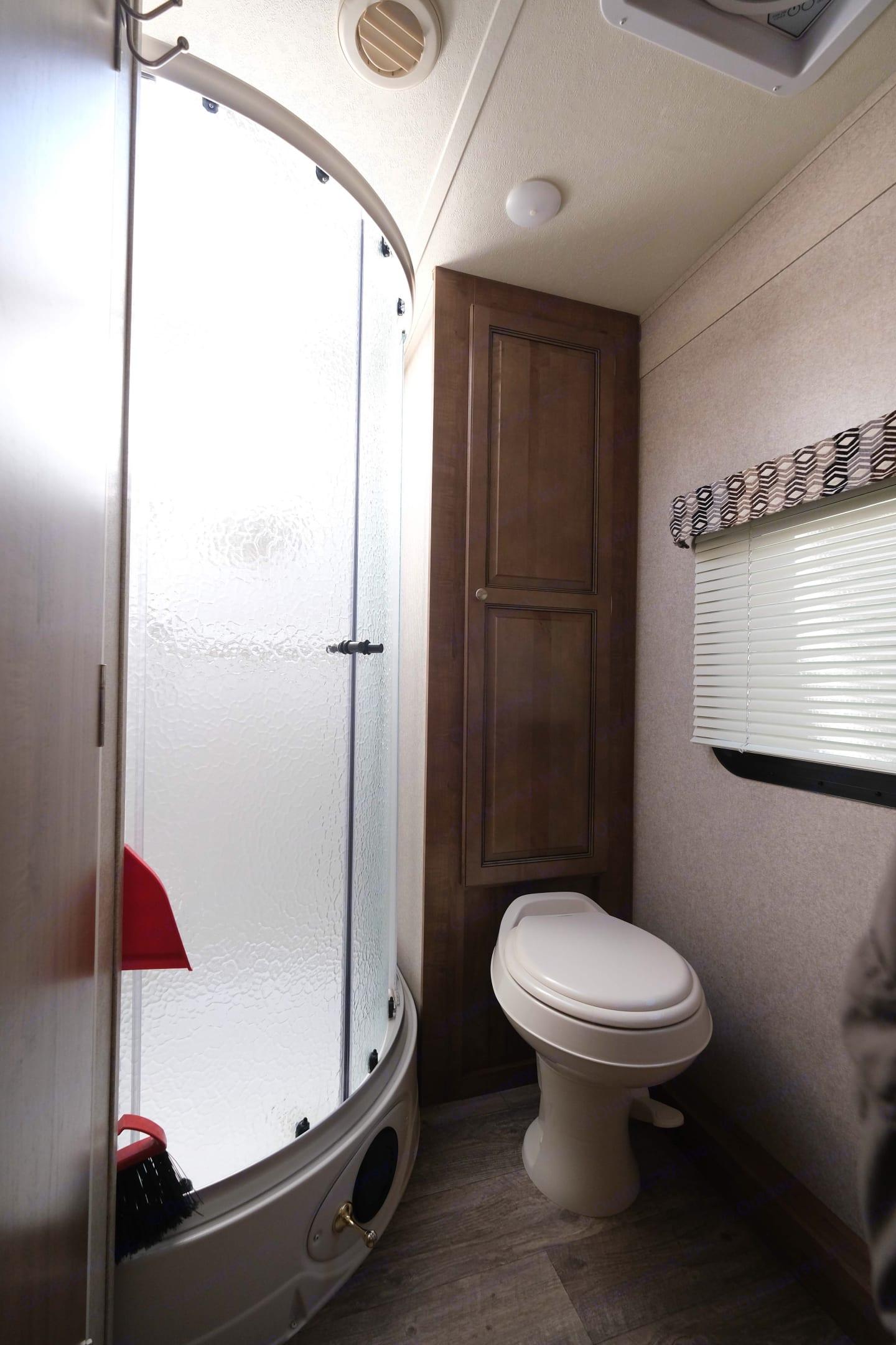 Great bathroom with full size shower. Forest River Rockwood Mini Lite 2304KS 2018