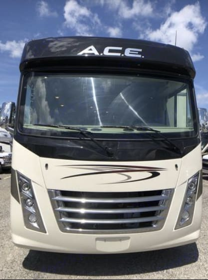 Front top hood so it's not overwhelming to drive. Thor Motor Coach A.C.E 2020