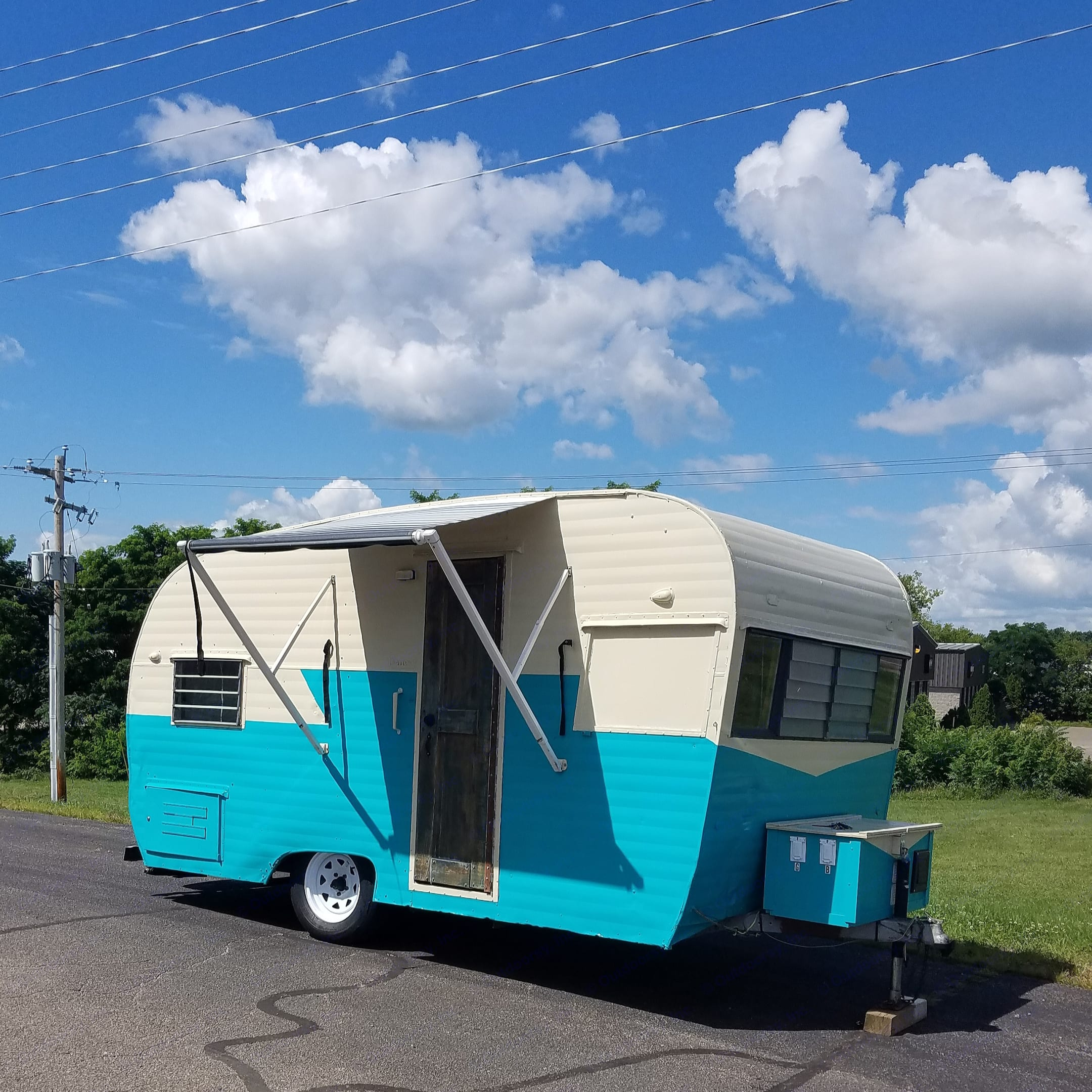 new awning and wheels.. Nomad Rear fold 1962