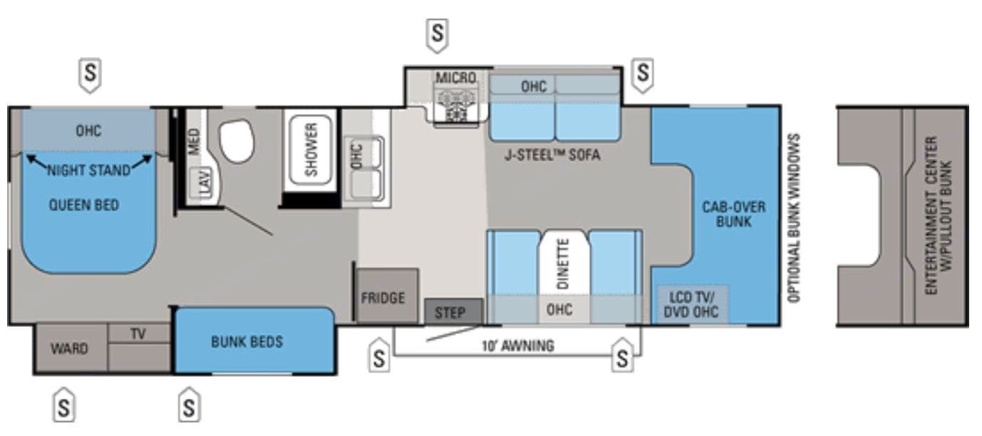 Spacious floorplan with 2 slideouts. Privacy sliding doors between kitchen and bunks, as well as between bunks and master bedroom.. Jayco Greyhawk 2012