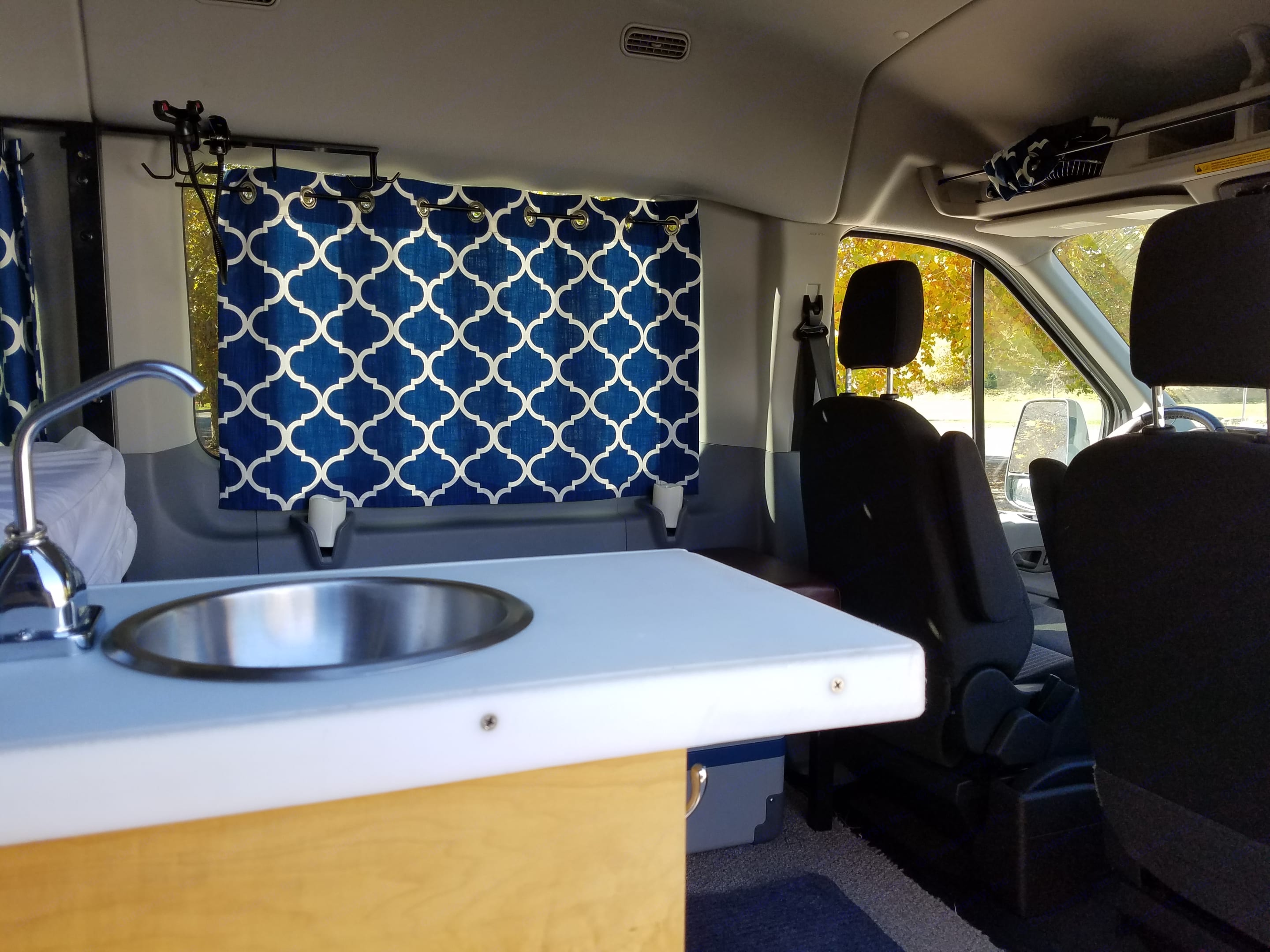 Looking into the front living space.. Ford transit 2019