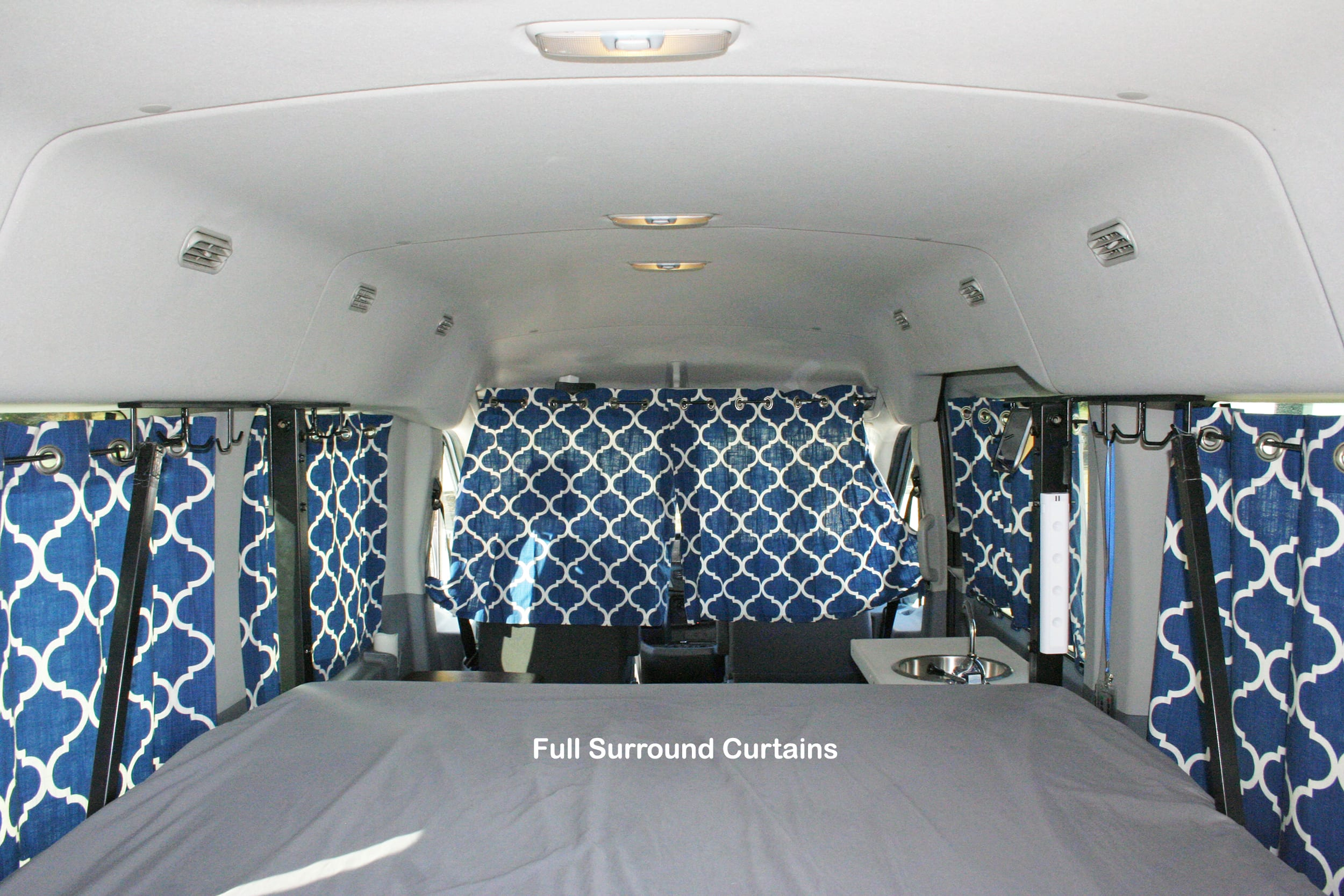 Looking back on the bed with the curtains pulled.. Ford transit 2019