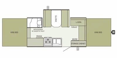 Floorplan - two king beds, shower, oven and more. Starcraft Centennial 2013