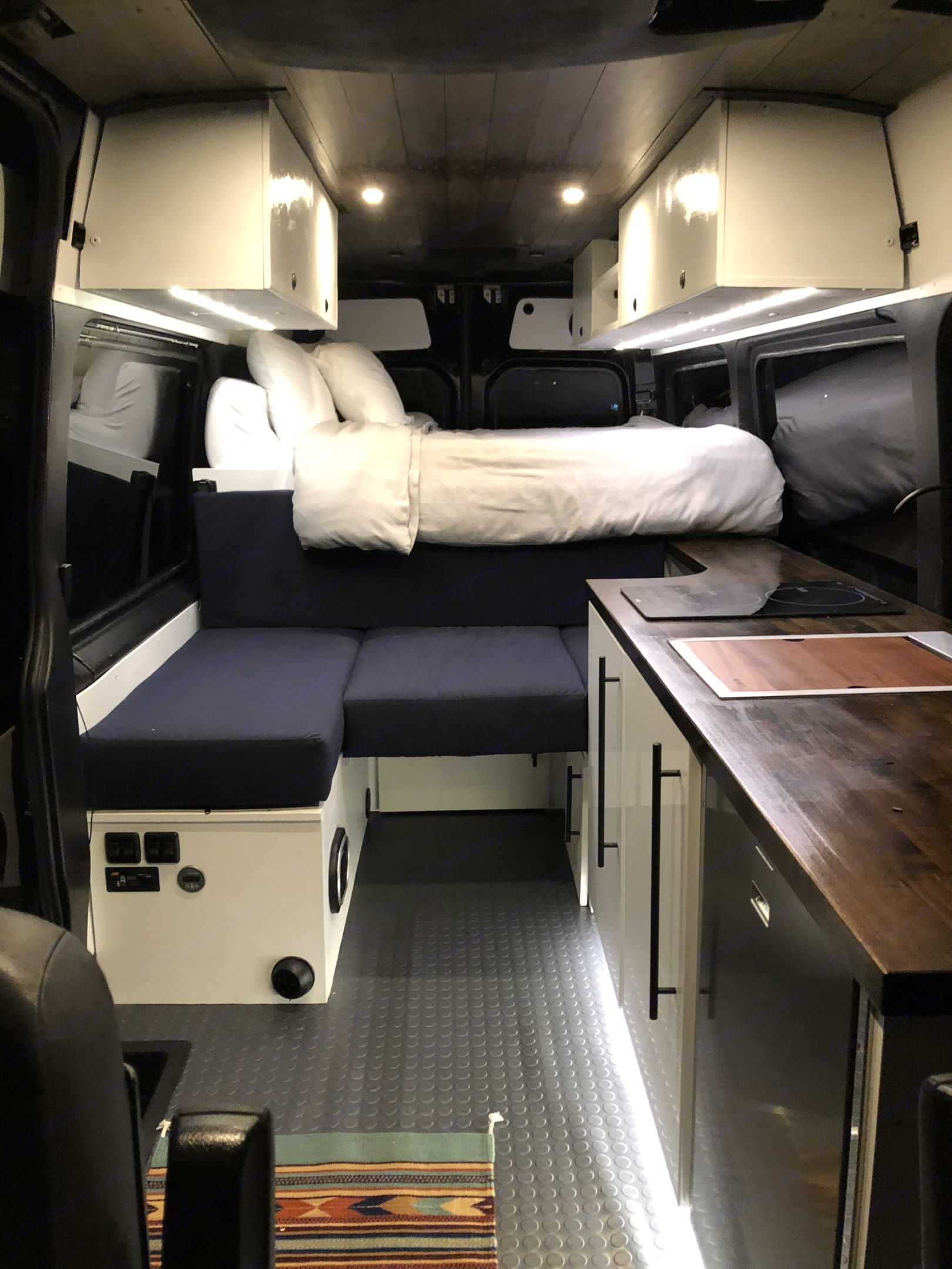 Lots of Counter Space!!! 2 Burner Electric Induction Cook Top and Rvati Stainless Steel Sink with Cutting Board.. Mercedes-Benz Sprinter 2012