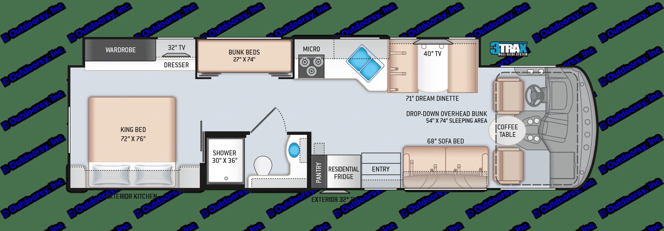 Floor Plan. Thor Motor Coach Hurricane 2017