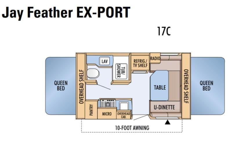 floorplan. Jayco Jay Feather EXP 17 Ex-PORT 2007