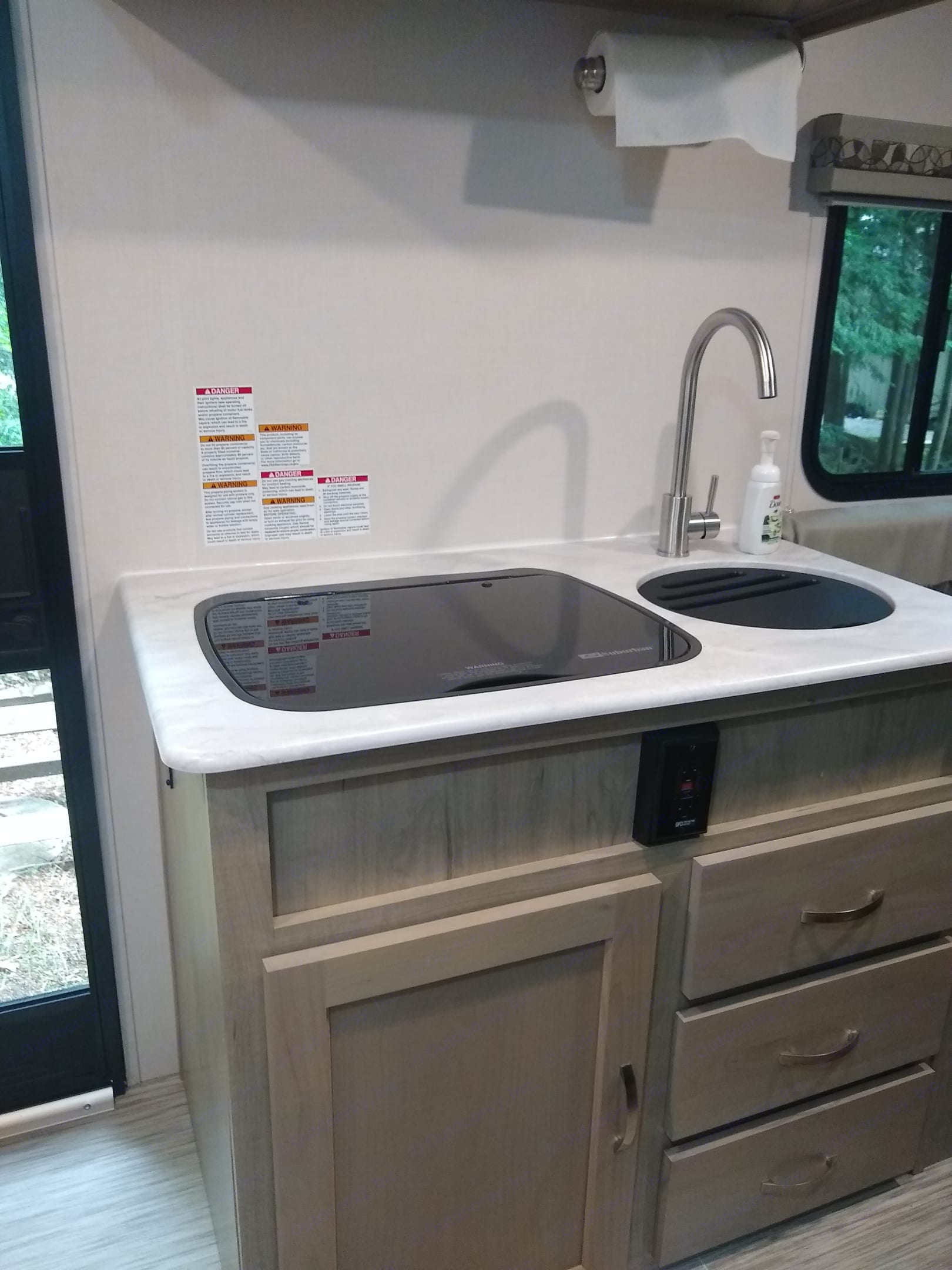 Kitchen and lower storage. Forest River R-Pod 2020