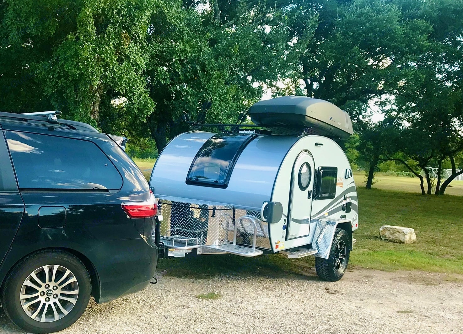 Nucamp T@G XL easily pulls behind almost any SUV. We use our minivan.. Nucamp T@G XL Boondock 2021