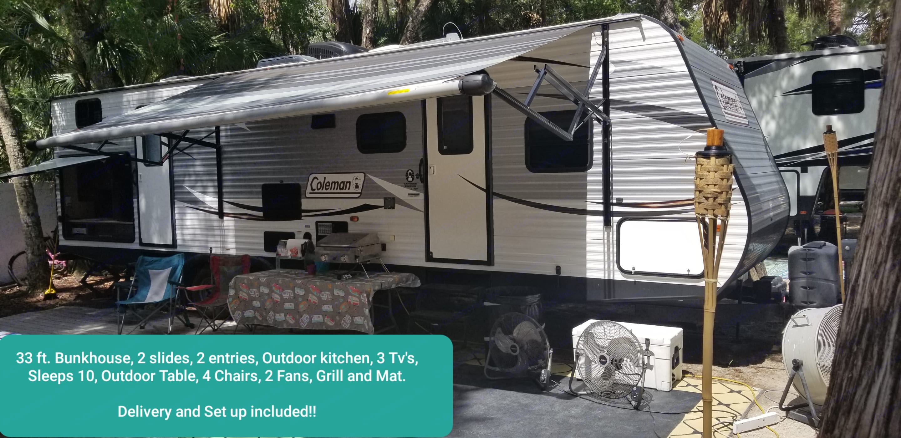 FREE Setup and Delivery, INCLUDED FREE Table, 4 chairs, 2 fans, Grill, mat.*SEE FULL PHOTOS CLICK AND HOLD DOWN ON PHOTO THEN HIT VIEW PHOTO. Coleman Explorer lantern bunkhouse series 2016