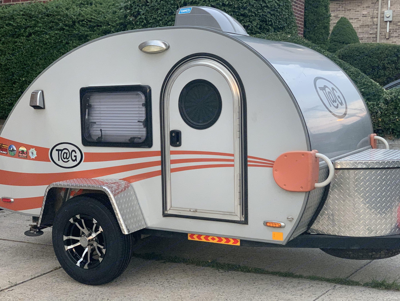 Behold, our beloved teardrop camper, Tails I!. NUCAMP T@G 2015