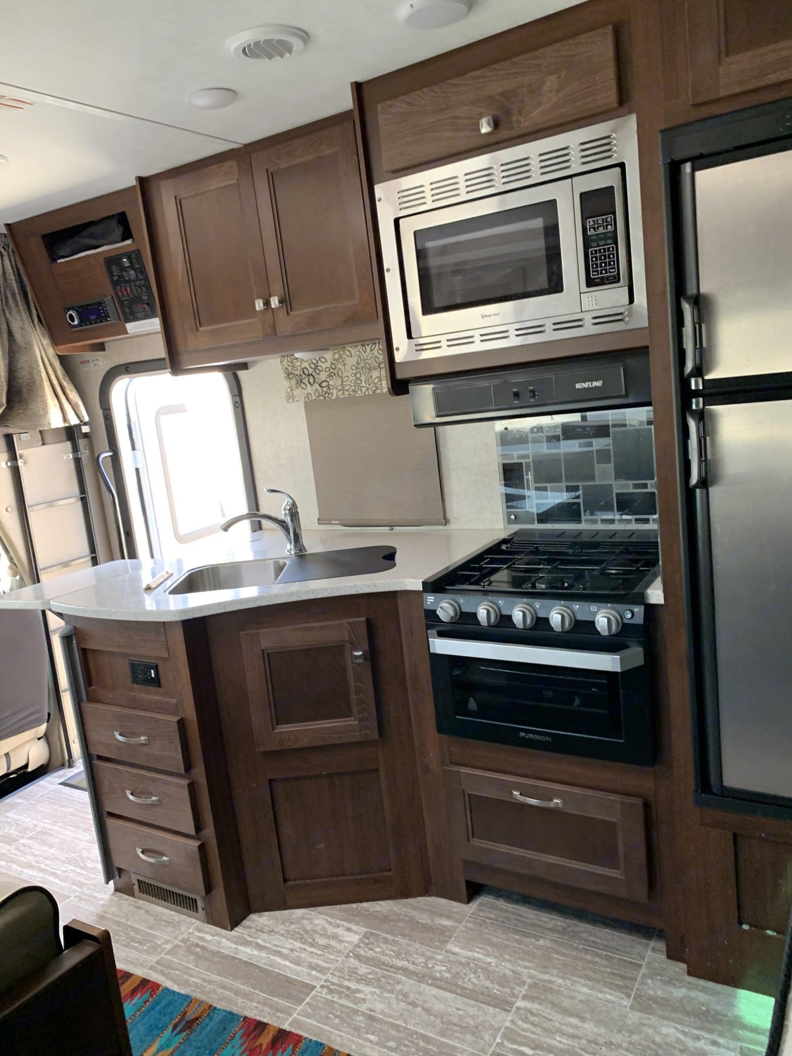 # Burner Stove, Microwave and Large fridge. Forest River Forester 2020