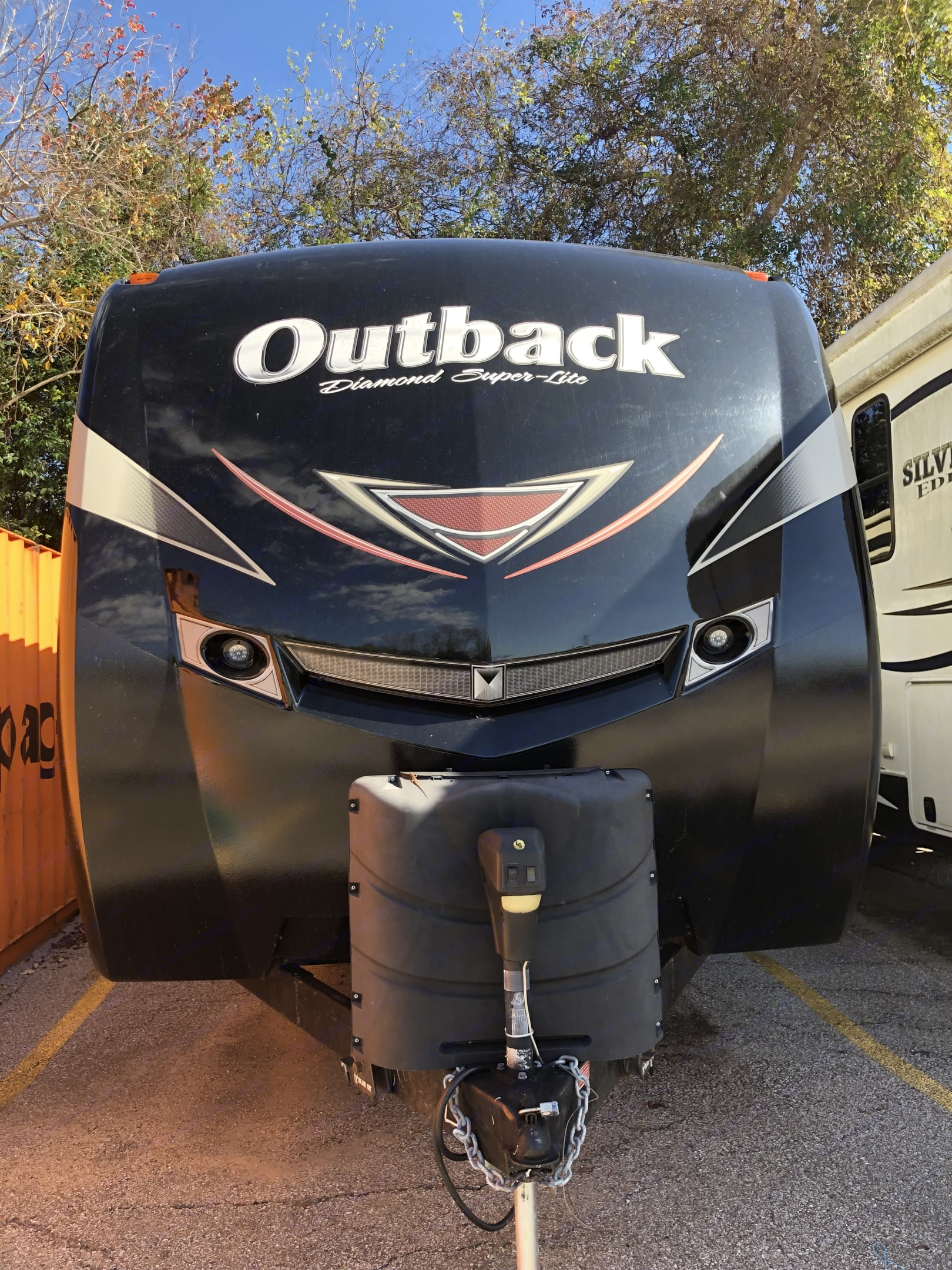 37 ft with 2 propane tanks. Keystone Outback 2017