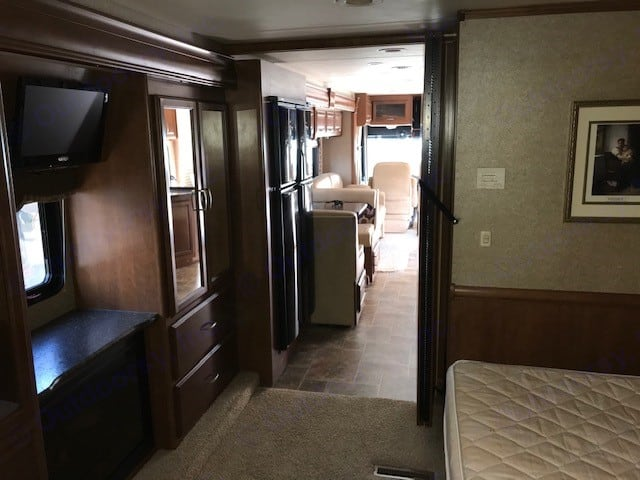 Master bedroom view. Thor Motor Coach Challenger 2013