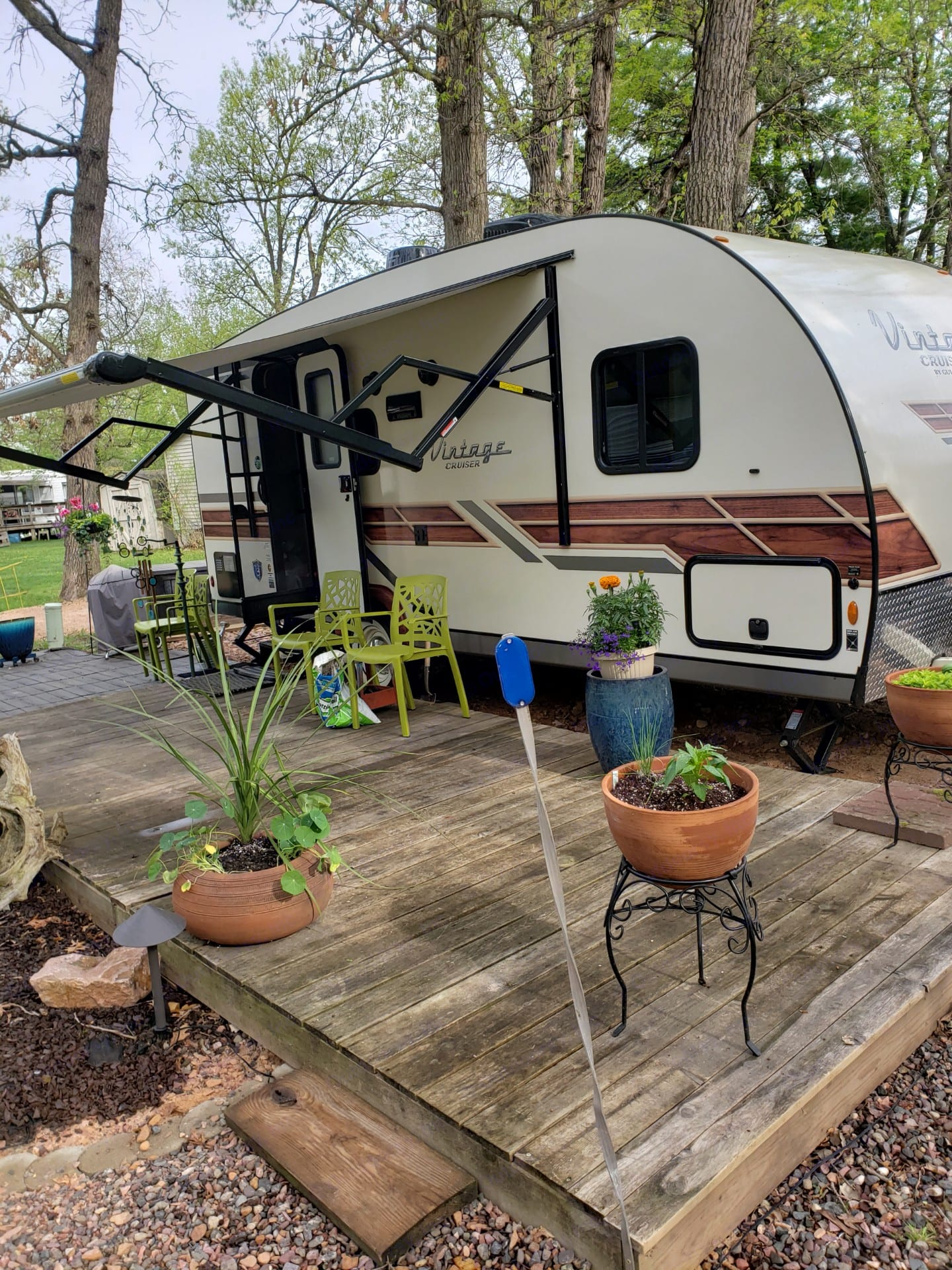 Lil' Ruth with awning out. Gulf Stream Vista Cruiser 2020