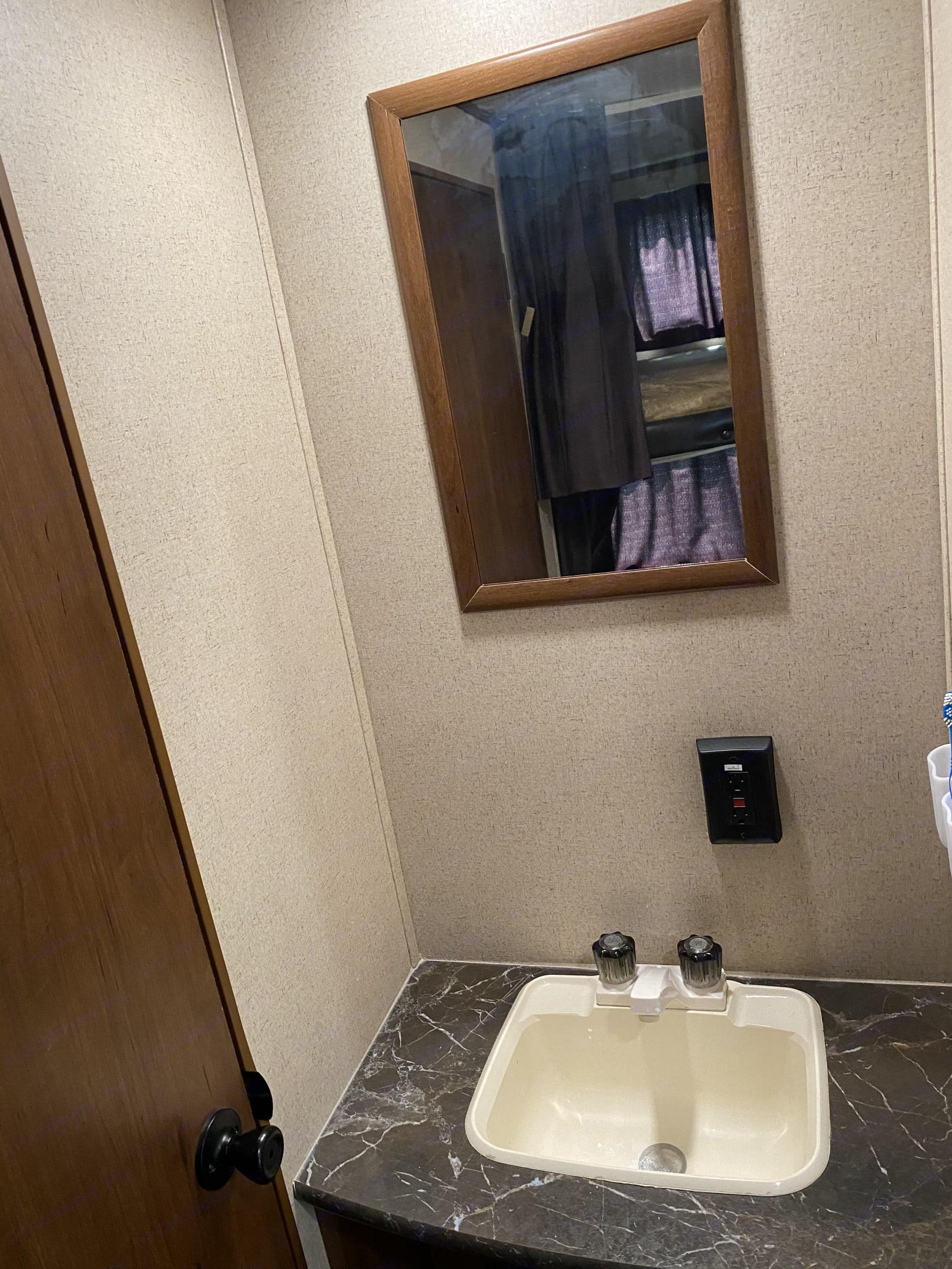 Sink is separated from bathroom. Jayco Flight 2016