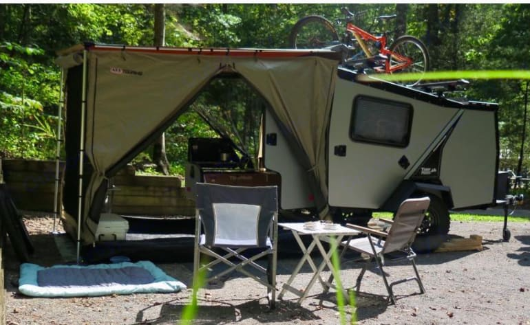 Outdoor room included. Zips onto awning.. TAXA Outdoors Tigermoth Trek 2017