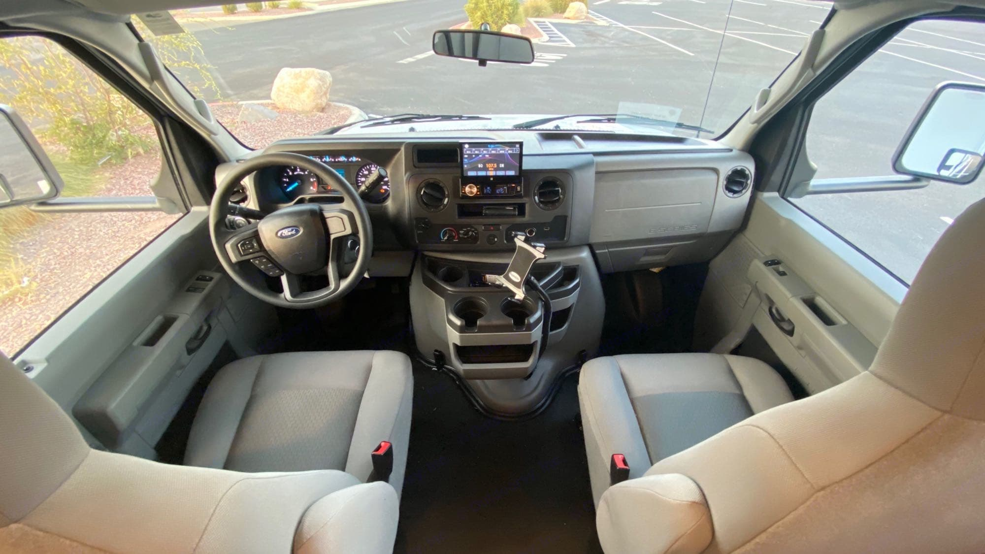 Cab area with AM/FM Stereo CD with Backup Camera. Coachmen Freelander 2021