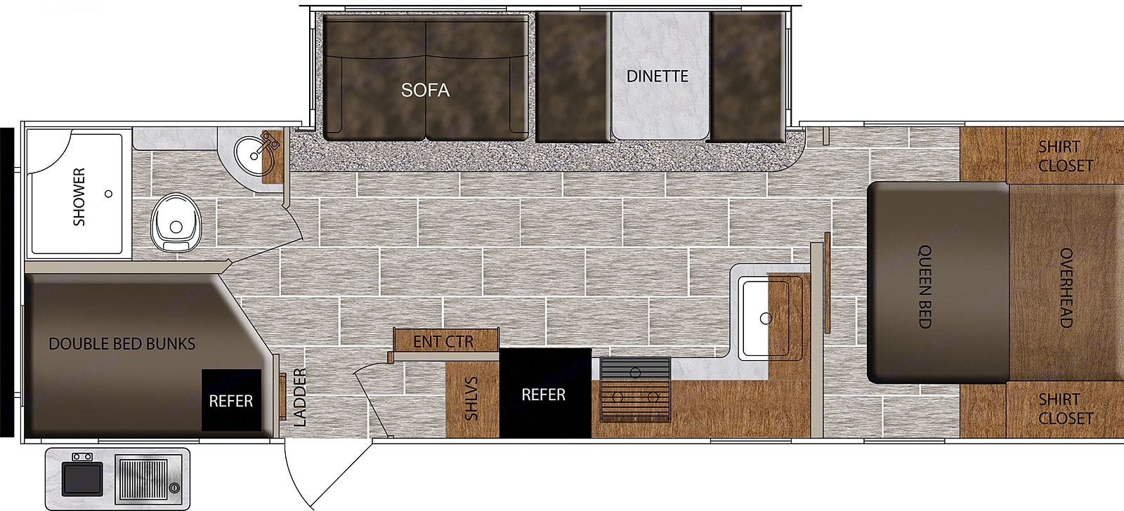 27BHS floor plan with private bedroom. Prime Time Tracer 2021