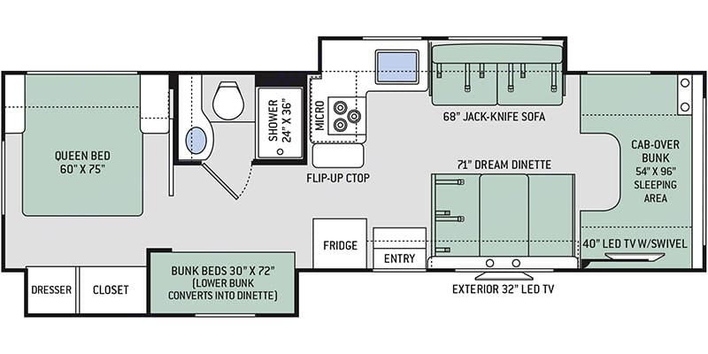 Bunk bed layout - room for everyone. Thor Motor Coach Freedom Elite 2020