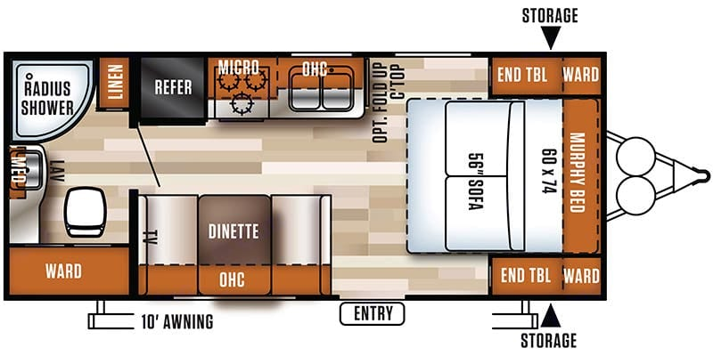 Floor plan of our camper. Forest River Salem Cruise Lite 2017