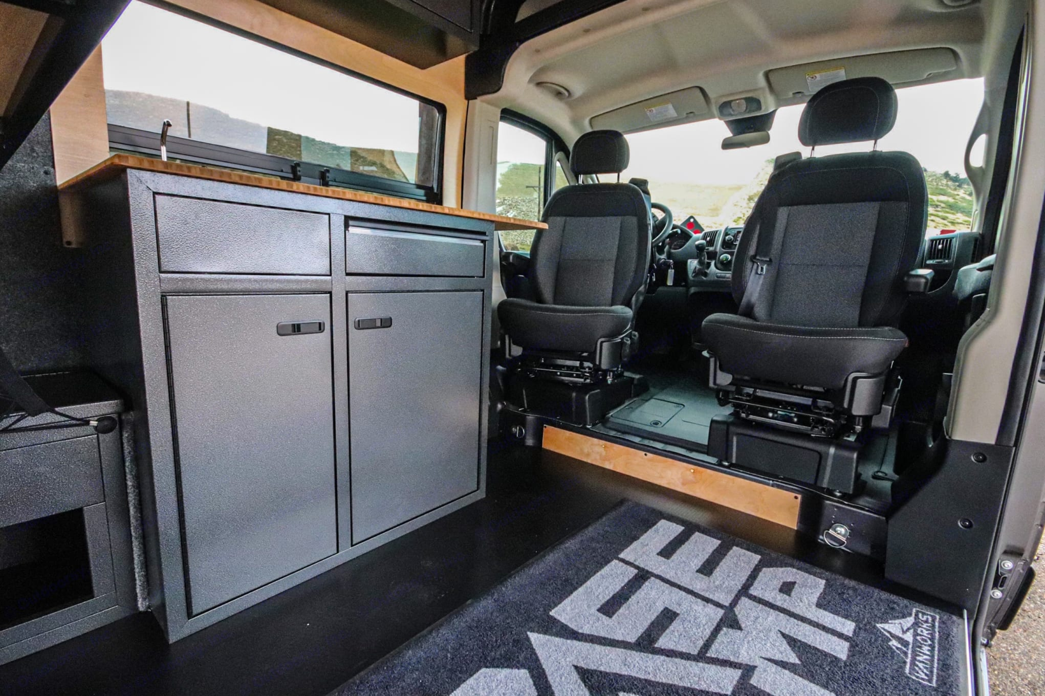 The perfect camp set up or office on the road. Optional bench seat / fold-out bed will be directly in front of the main bed. Dodge 1500 2020