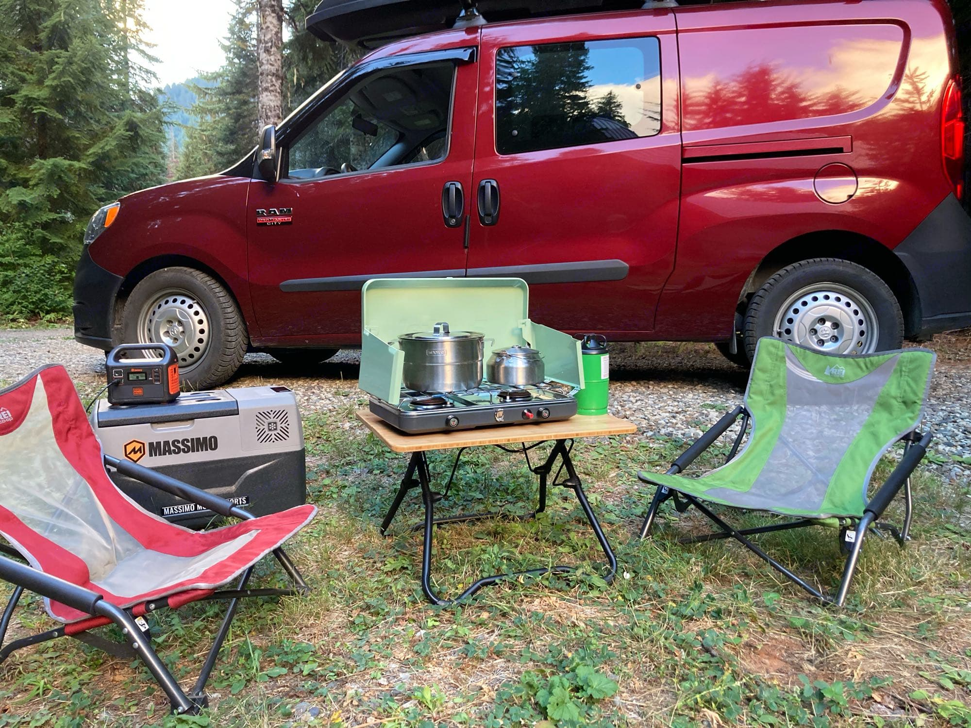 Just some of the options - chairs, table, stove and cooking supplies (not all pictured), Refrigerator/freezer! - and battery pack.. Ram Promaster City 2018