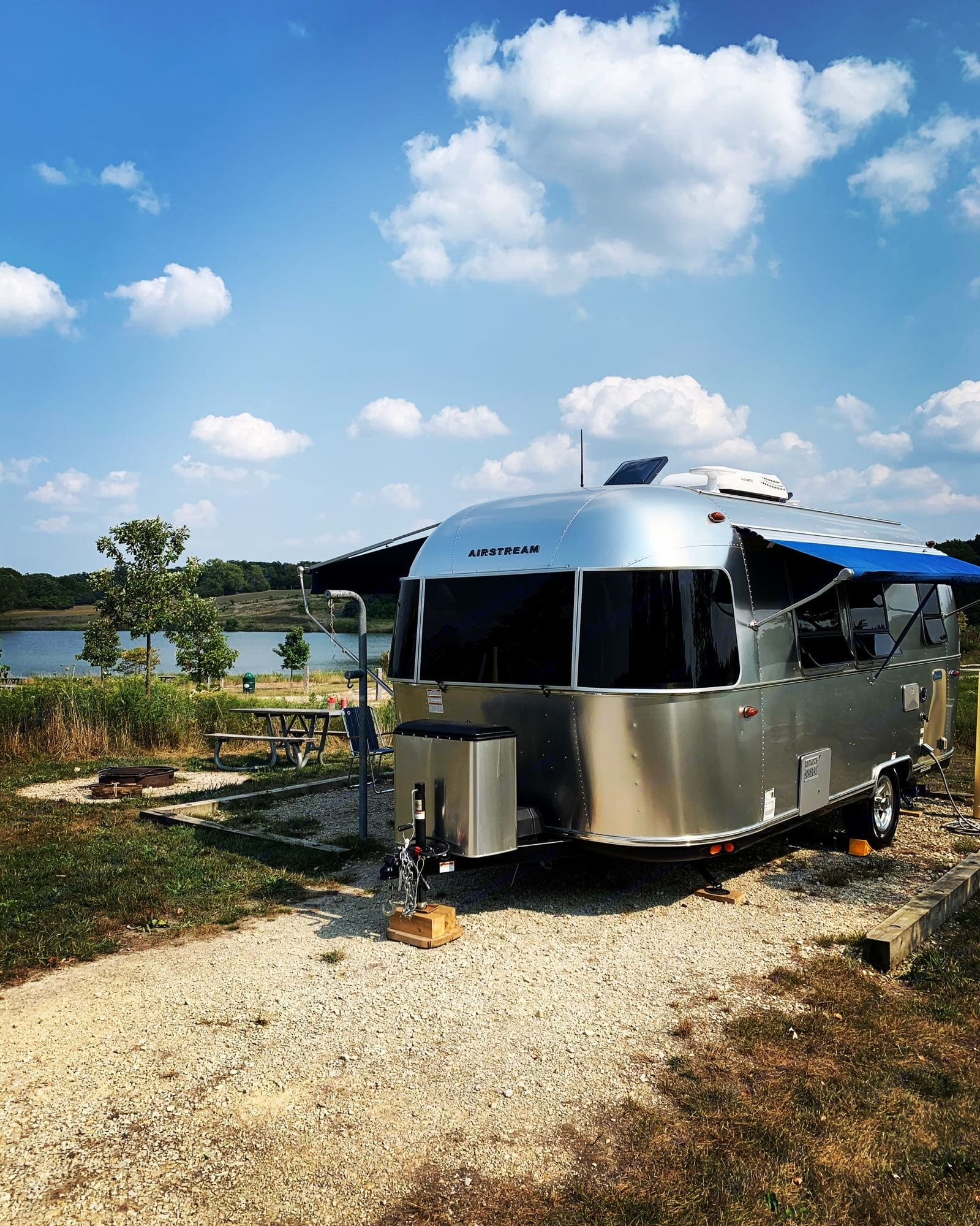 """Delivered and set up at Camp Bullfrog Lake. Don't have a """"tow vehicle""""? No problem, we deliver!. Airstream Bambi 2020"""