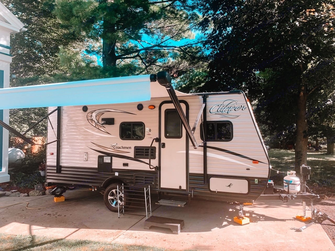 Awning out and all set up. Coachmen Clipper 2018