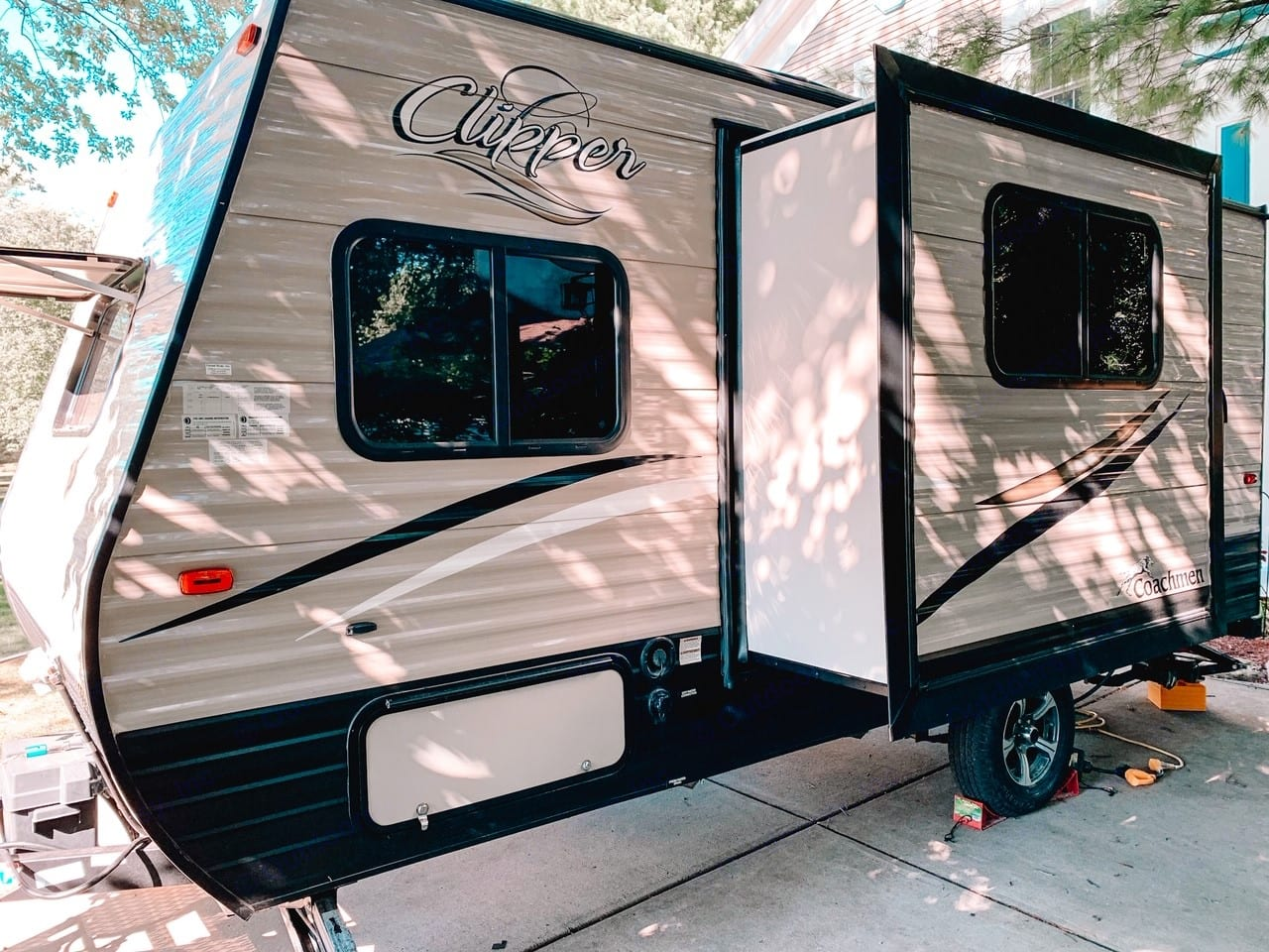 Left side with slide out. Coachmen Clipper 2018