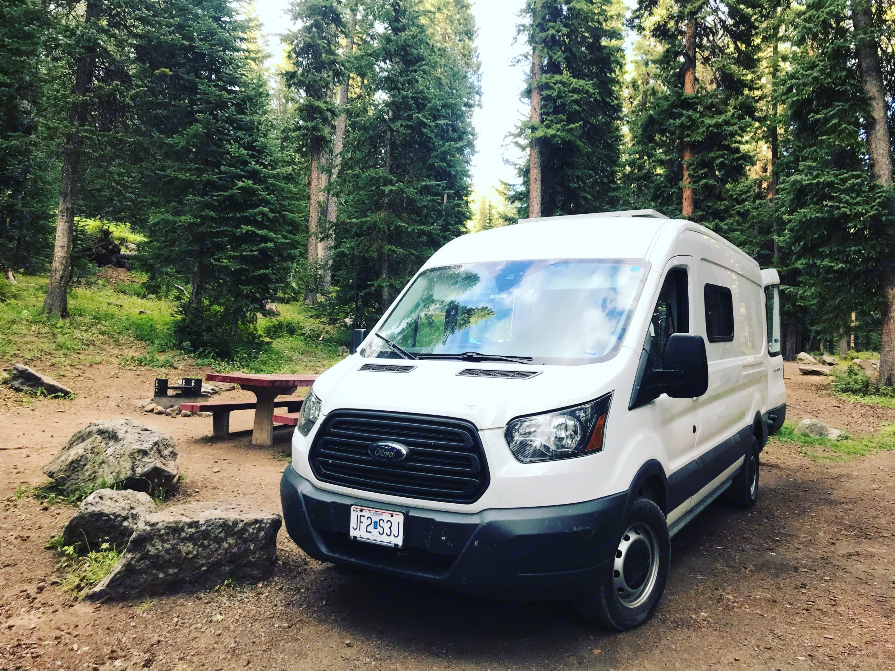 Big Betty in Grand Mesa National Forest in August.. Ford Transit 2016