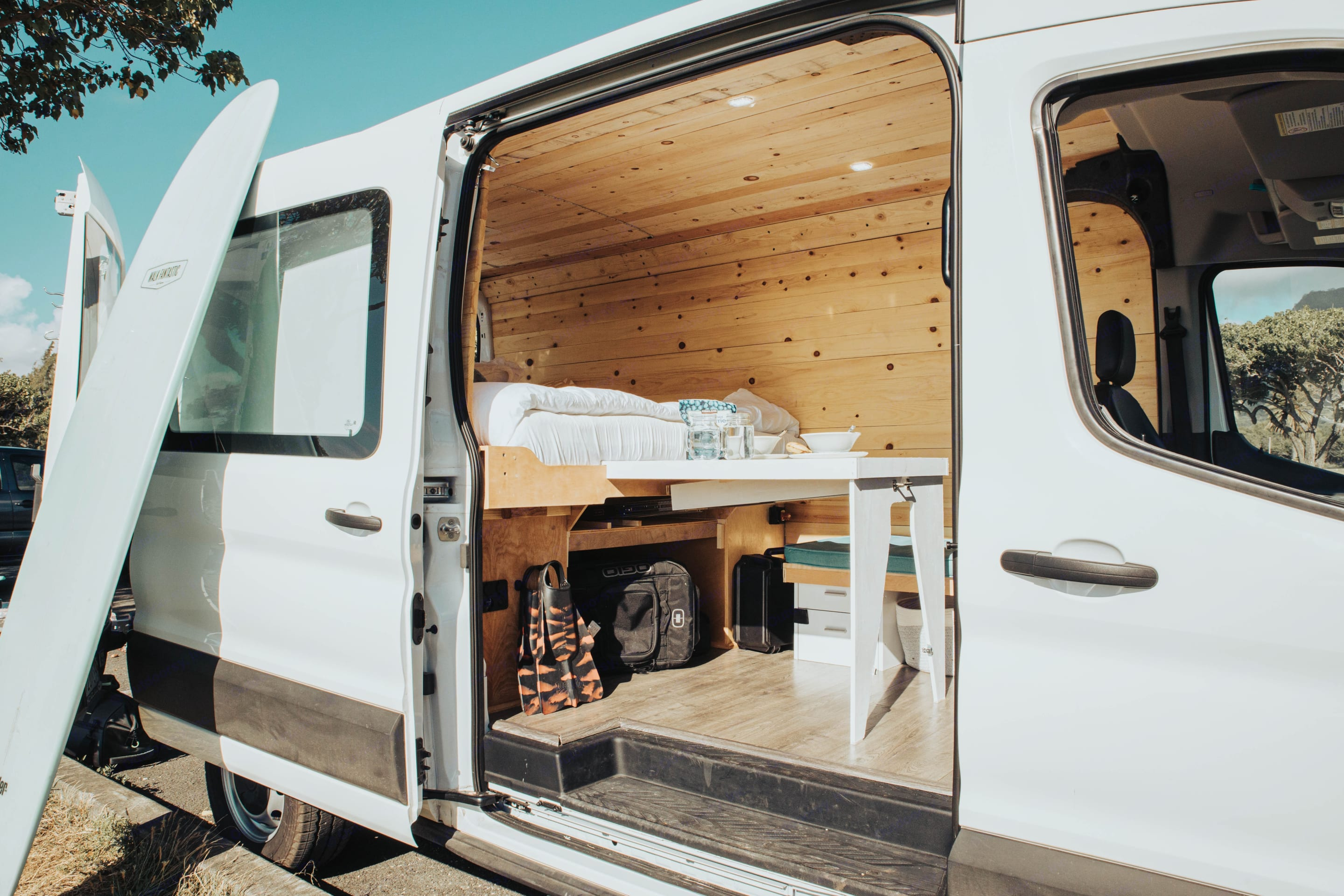 enjoy a brand new slide out table for dinner with a view. Ford Transit 2020