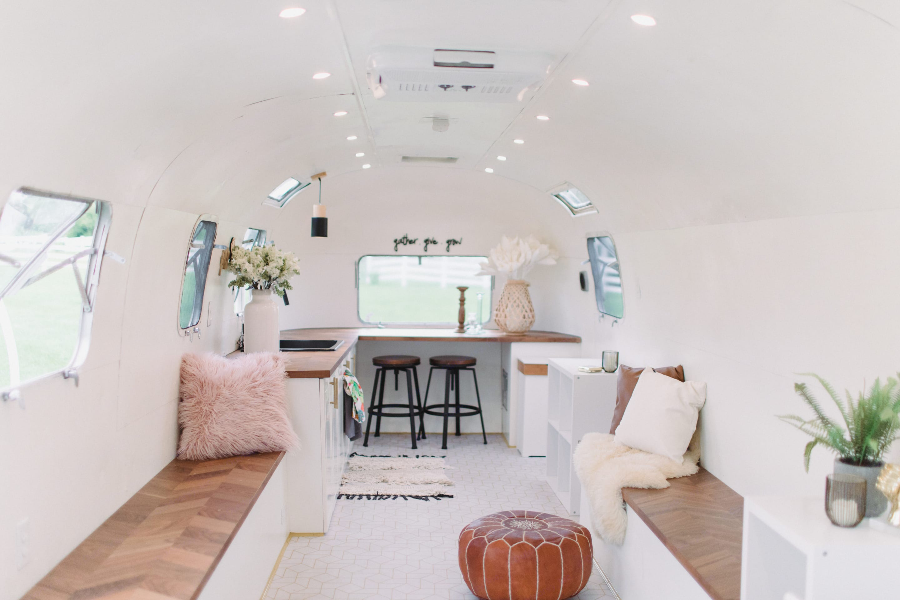 Add our beautiful conference table to the center for dinners and meetings or use as an open party space.. Airstream Land Yacht 1976