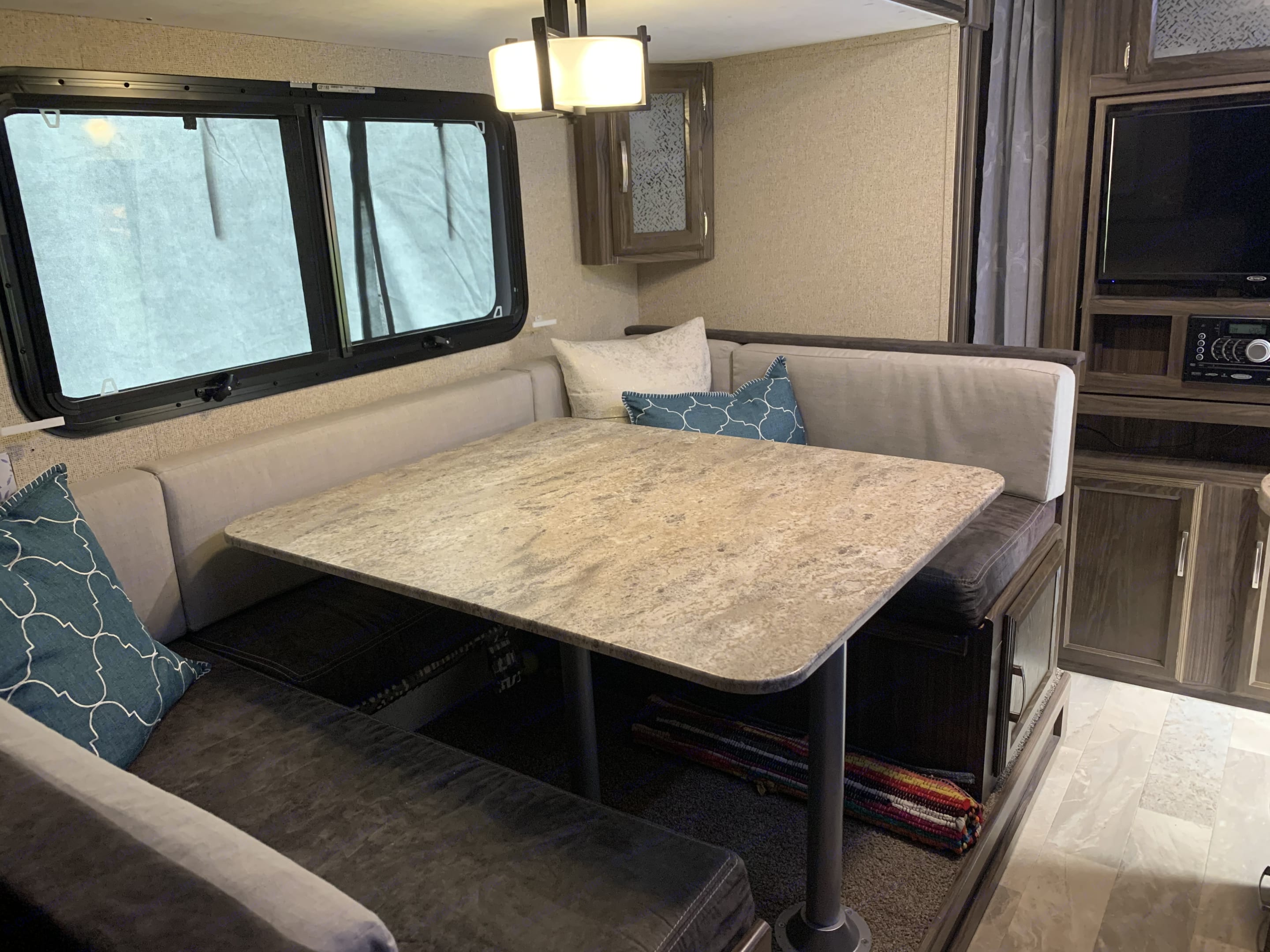 Dinette also folds down to a bed for the kiddos. Coachmen Apex 2018