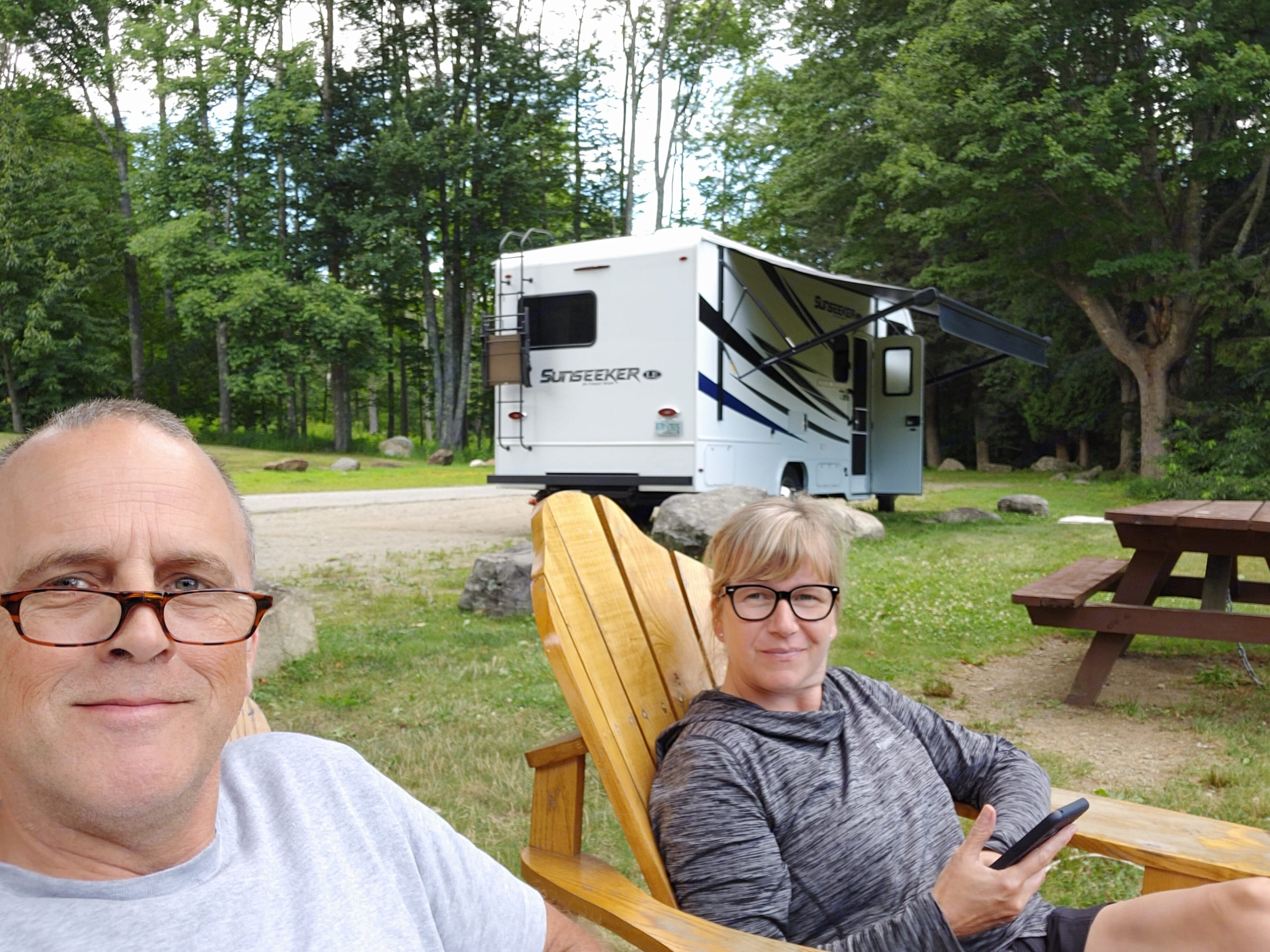 Dinner by the Maine coast. Forest River Sunseeker 2021