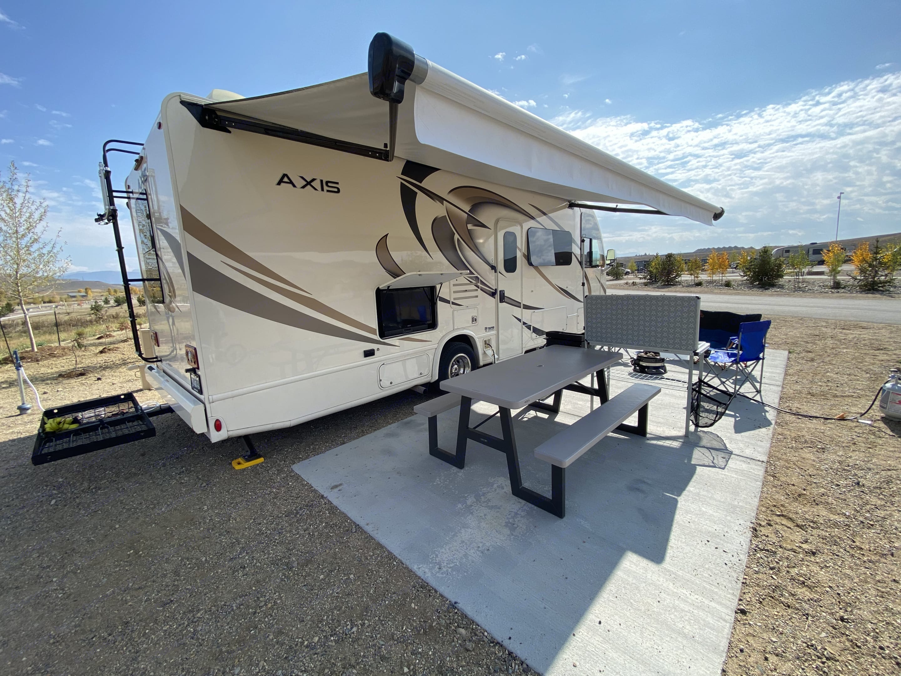 Electric awning provides nice shade and it includes a wind sensor in case you leave it out!. Thor Motor Coach Axis 2019